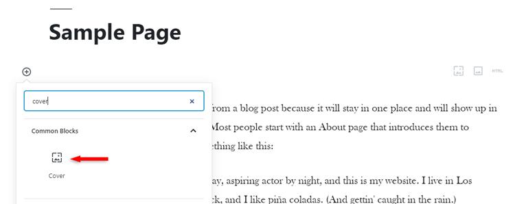cover block wordpress gutenberg