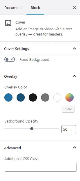 cover block settings