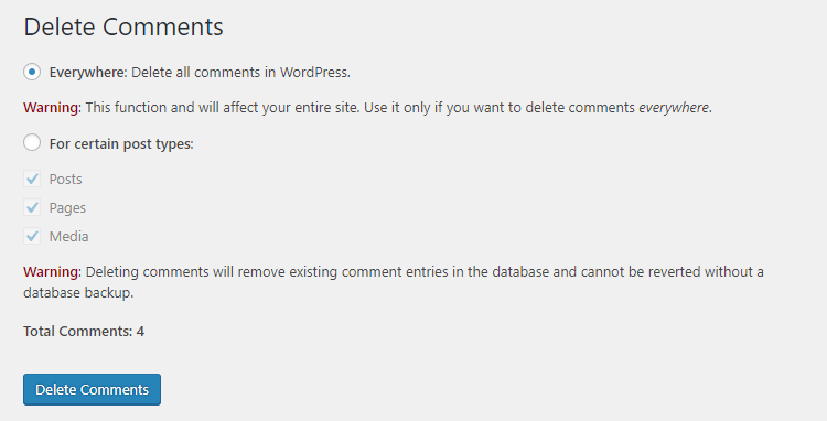 delete comments tool