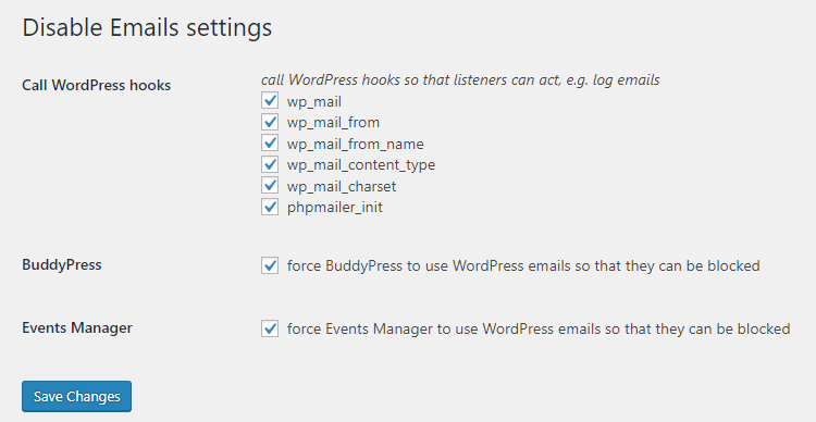 disable emails wordpress plugin settings