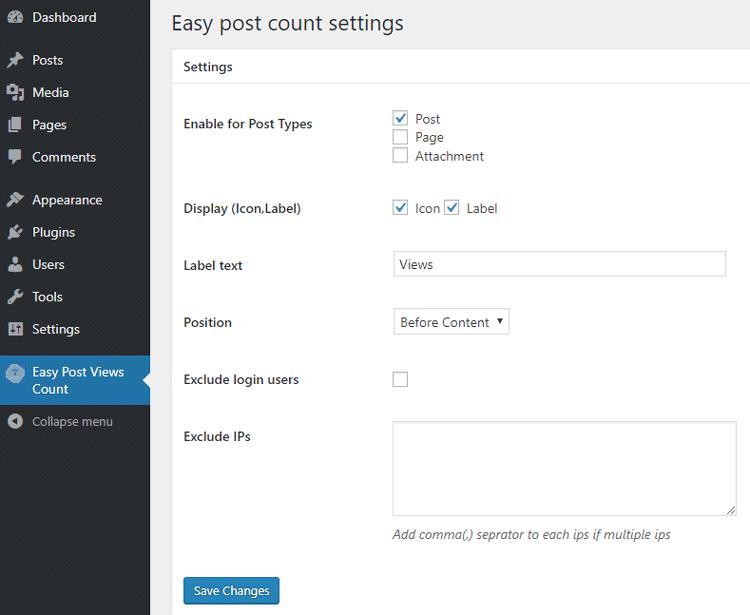 easy post count plugin settings