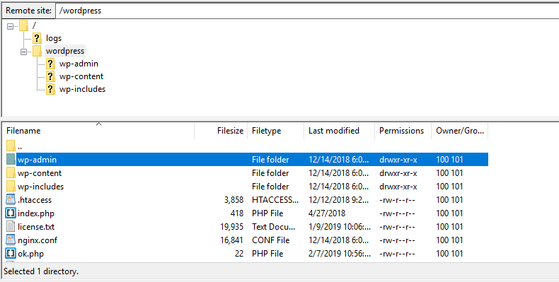 filezilla wordpress files