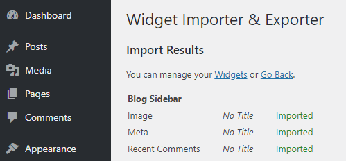 imported widgets in wordpress