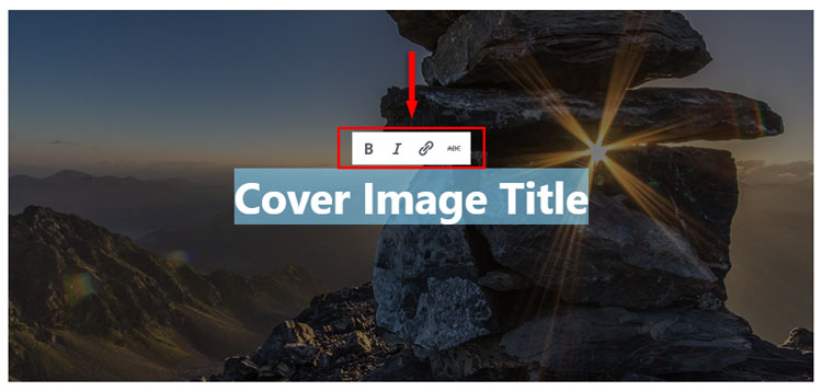 cover image title toolbar