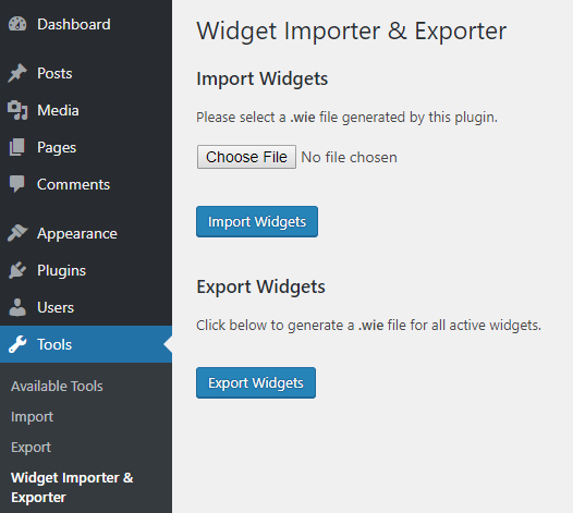 widget importer and exporter wordpress plugin