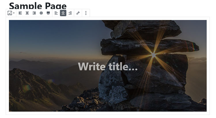 write title cover image block