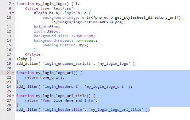 php code to change login logo url and title