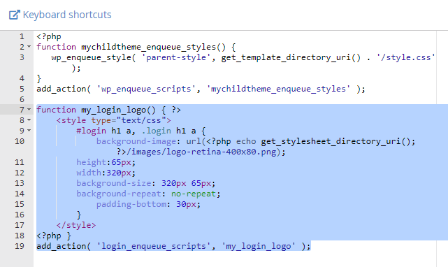php code to change the wordpress login logo