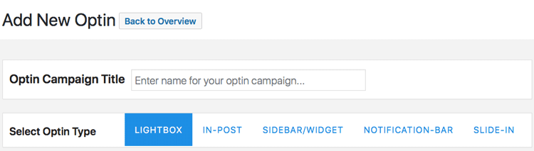 create optin with mailoptin