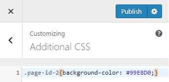 background color change for  a single page in wordpress