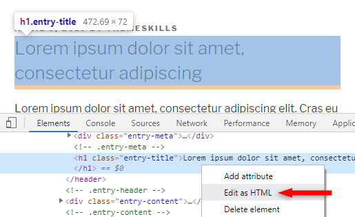 edit as html inspect element