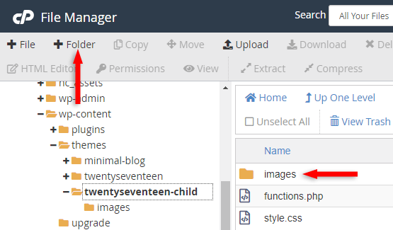 images folder child theme