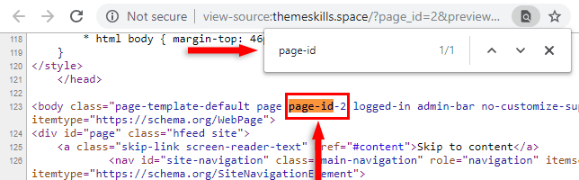 wordpress page id in source code