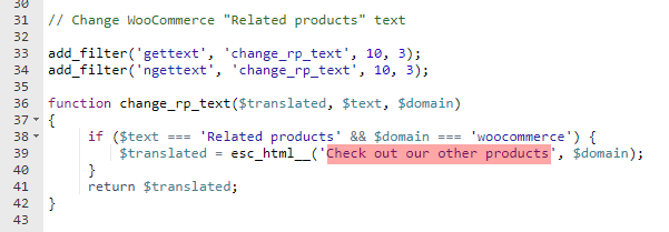 change woocommerce related products text in functions.php
