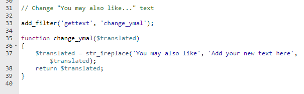 change you may also like text in woocommerce