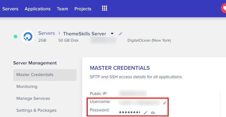 sftp credentials cloudways