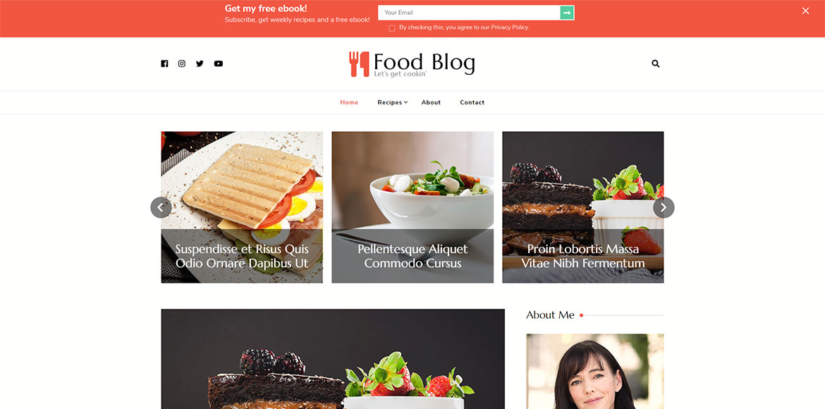 ready made wordpress feminine food blog