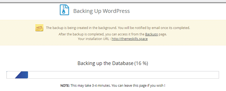 softaculous wordpress backup progress