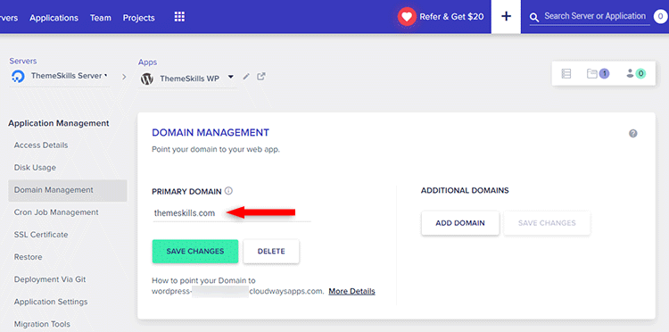 adding primary domain to cloudways