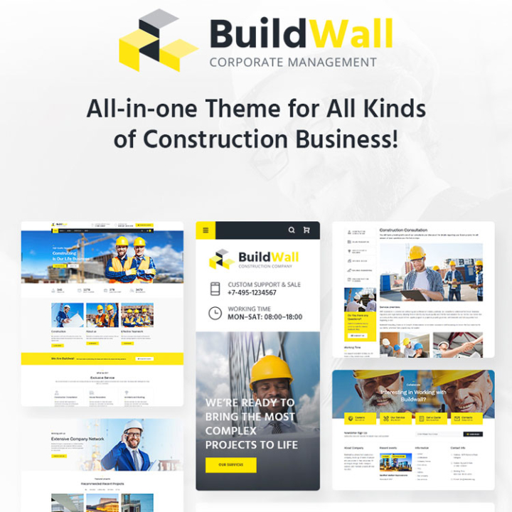 build wall construction wordpress theme