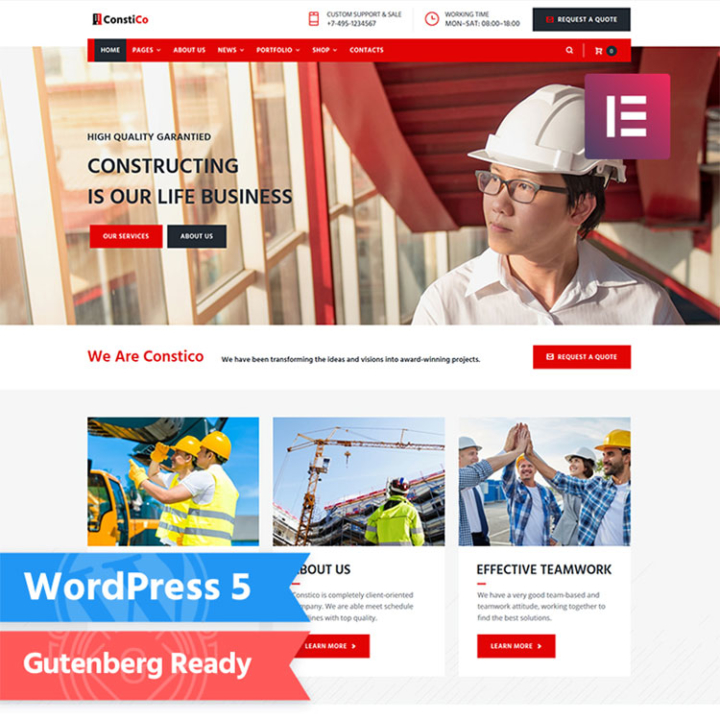 constico construction wordpress theme