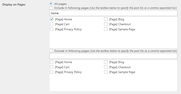 display on pages scroll top plugin settings