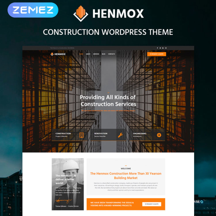 henmox construction wordpress theme