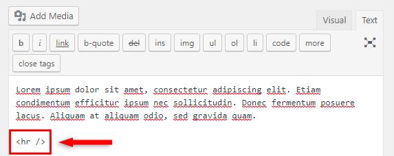 html hr tag separator line wordpress classic editor