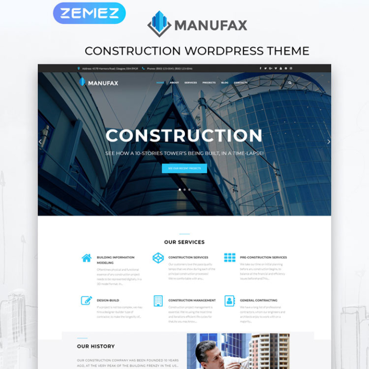 manufax construction wordpress theme