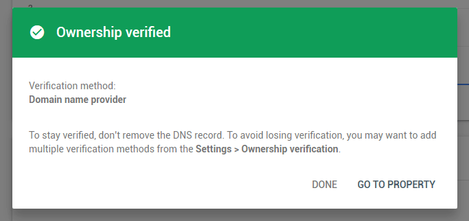 dns ownership verified google search console
