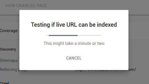 testing if live url can be indexed google search console