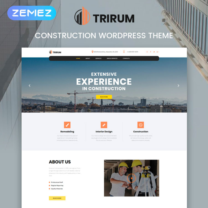 trirum construction wordpress theme