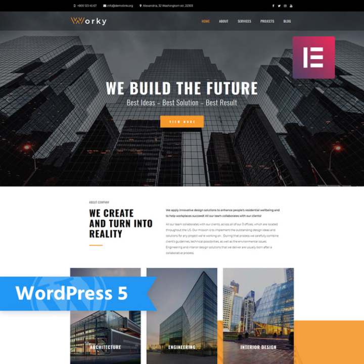 worky construction wordpress theme