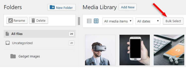 bulk select images media library wordpress