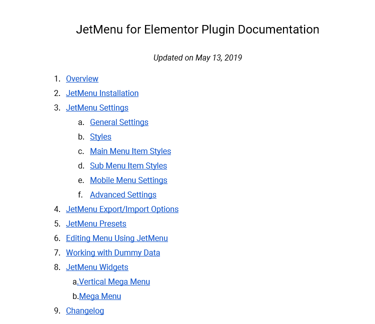 jetmenu elementor add-on documentation