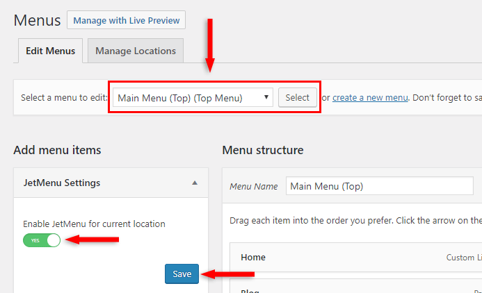 enable jetmenu mega menu wordpress