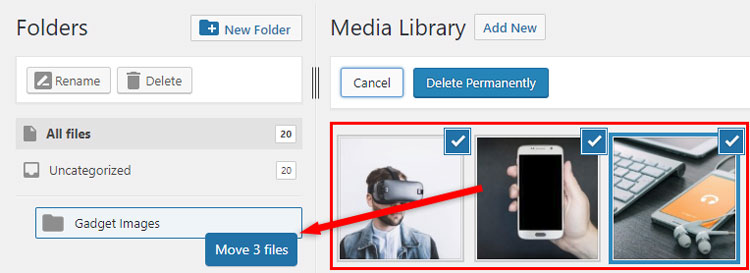 bulk move files media library wordpress