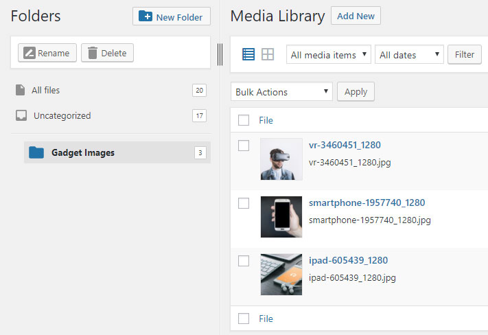 wordpress media library folder